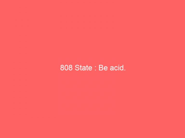 Read more about the article 808 State : Be acid.